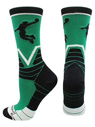 MadSportsStuff Basketball Player Victory Crew Socks (Kelly Green/Black/White, Large) by MadSportsStuff