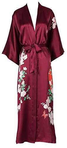 Silk Kimono Women's Long Robe Nightgown- Handpainted Sleepwear WineRed