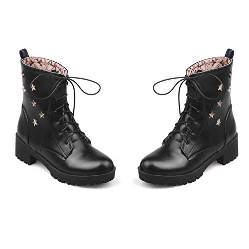 Boots Imitated Black Girls Toe Up Leather Round AdeeSu Solid Lace z8PqxRY4