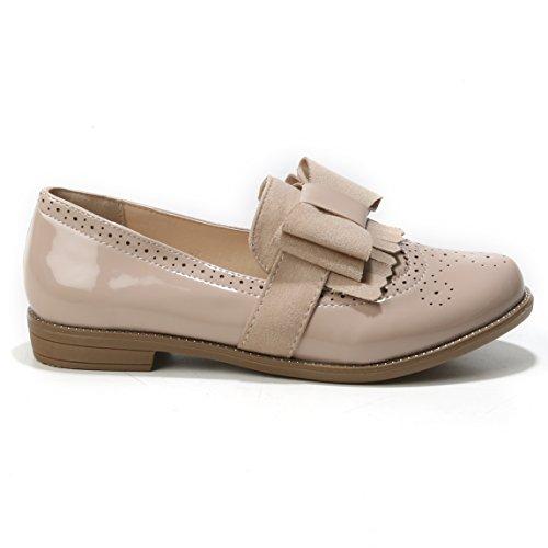 à Chaussures Classique Coupe Lacets et Femme Beige HERIXO a1nxZww