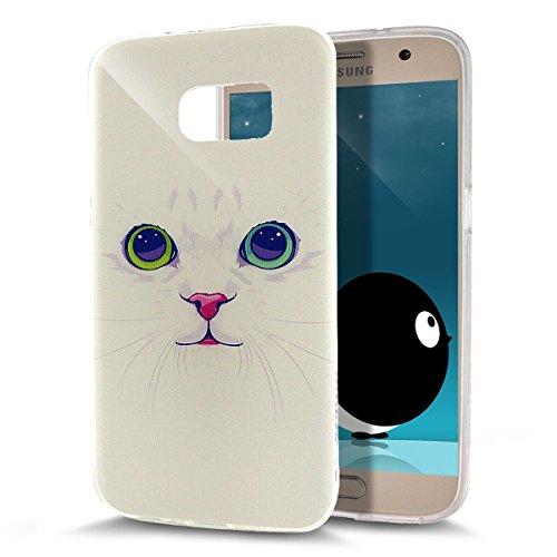 ikasus - Carcasa ultra fina de silicona suave resistente a los arañazos para Galaxy S7 (2016) White Cat