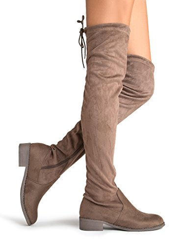 Shoe Drawstring Thigh Suede Round J Taupe High Briston Boot Comfortable Stretchy Pointy Low by Knee Suede Over Heel Toe The Closed Adams 11xqwTtv