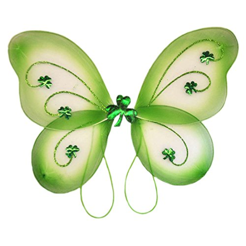 Green St. Patrick's Day Fairy Wings Covered In Glitter With A Fluffy Centre (Glitter Fairy Wings)