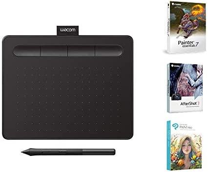 """Wacom CTL4100 Intuos Graphics Drawing Tablet with 3 Bonus Software Included, 7.9""""x 6.3″, Black"""
