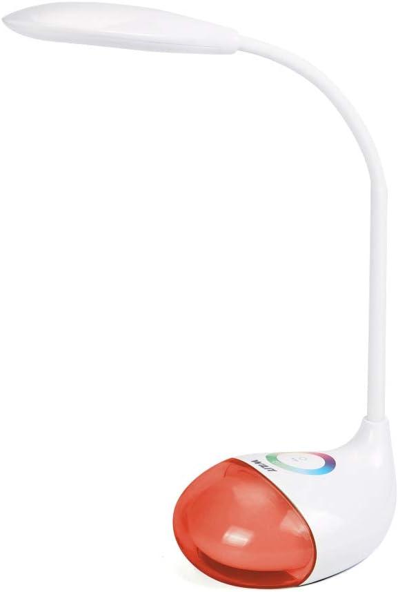 WILIT Q10 Lámpara de Escritorio LED con Batería Recargable, Lámpara de Mesa para Niños, 5W, Regulable, Panel Táctil para una Iluminación de 256 colores RGB y 3 Niveles de Brillo, blanco