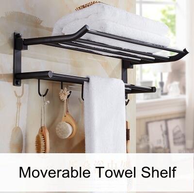 KIEYY - Juego de accesorios para baño de color negro con estante para toallas, toallero
