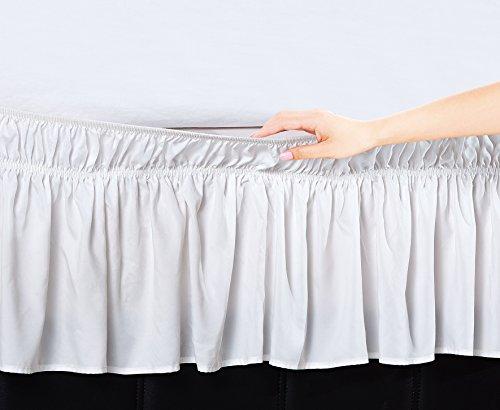 """Ben&Jonah EasyWrap White Elastic Ruffled Bed Skirt with 16"""""""