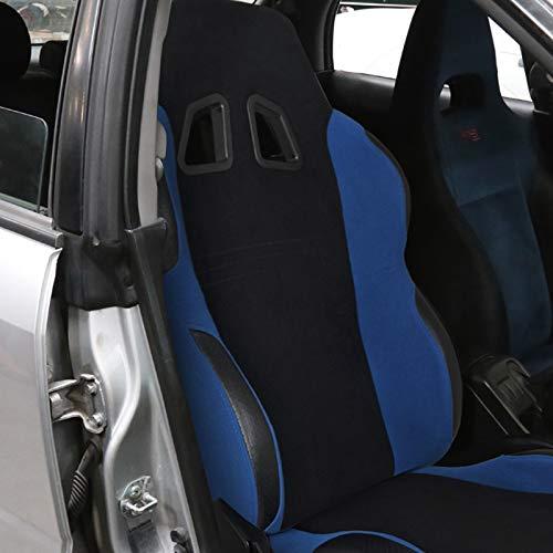 [Passenger]Black/Light Blue Fabric Cloth Reclinable Sport Racing Seat w/Sliders
