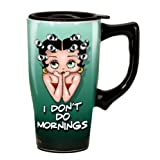 Betty Boop I Don 't Do Mornings taza de viaje, verde