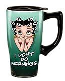 Betty Boop I Don't Do Mornings Travel Mug, Green
