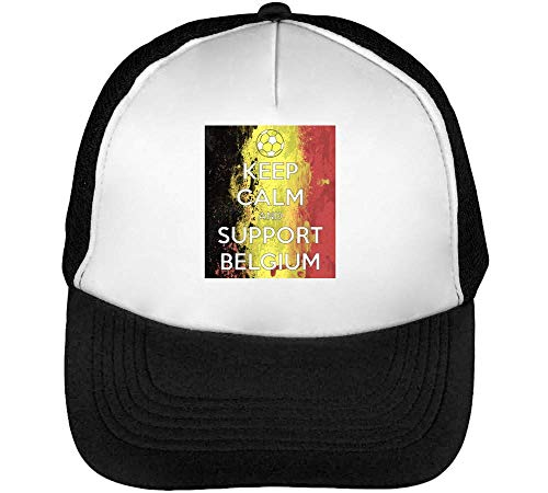 Keep Calm Support Belgium Gorras Hombre Snapback Beisbol Negro Blanco