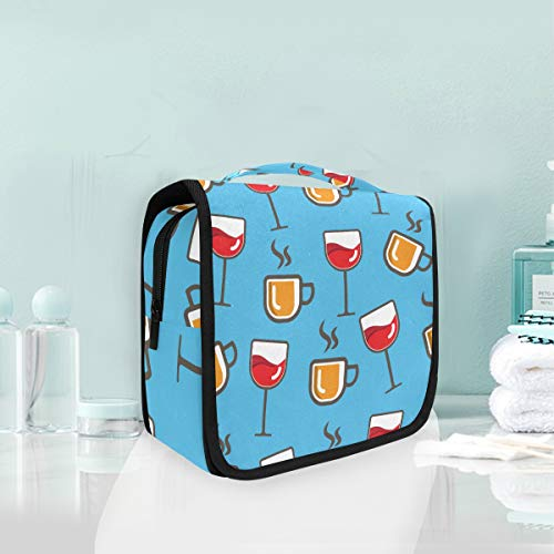 Hanging Travel Toiletry Bag Goblet Wine Cups Kit Makeup Case Cosmetics Organizer for Men Women by domook