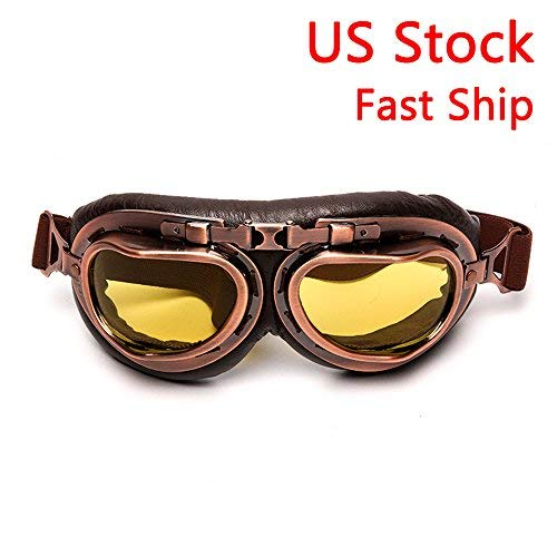 LEAGUE&CO Vintage Aviator Pilot Sports Motorcycle Cruiser Scooter Goggle, Half Helmet Goggles, Windproof glasses