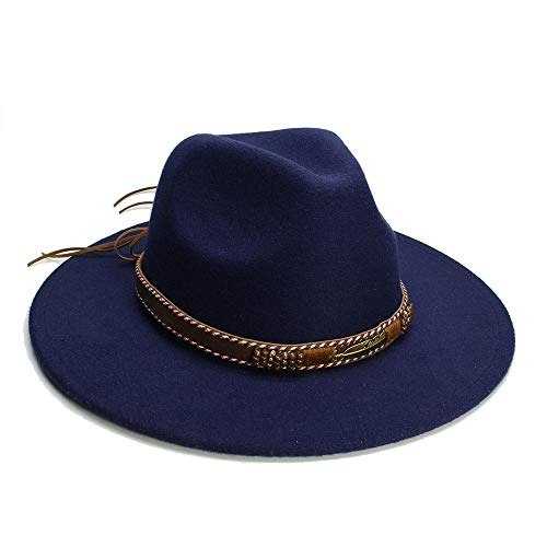 Fashion Exquisite Charm Unisex Men Women Vintage Fedora Style Blower Jazz Hat Trilby Derby Cap Hats Creative (Color : Dark Blue, Size : 56-58cm)