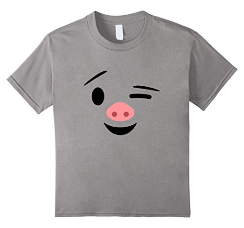 Kids Pig Halloween Costume Emoticon Cute Piggy Winking Tee Shirt 12 (Easy Costumes For Comic Con)