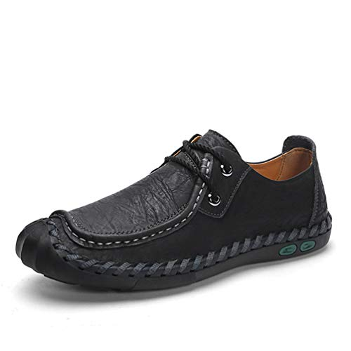 DRON TOOON Casual Men's Genuine Leather Penny Loafers Fashion Comfortable Boat Flats Driving Shoes (9.5, Black)