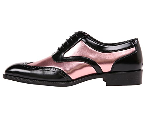 Bolano Men's Two-Tone Metallic Black Smooth Lace up Oxford Dress Shoe, Wingtip Spectator, Style Lawson Rose Rose Gold
