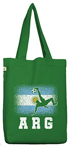 ShirtStreet Argentinien Fußball WM Fanfest Gruppen Fan Bio Baumwoll Jutebeutel Stoffbeutel Argentina Football Player Moss Green