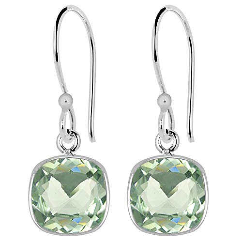 (Green Amethyst Earrings For Women By Orchid Jewelry | Silver Dangle Earrings | (13.70 Cttw, 15X10 Mm Teardrop; 8 Mm Cushion)| Simple. Beautiful. Affordable)