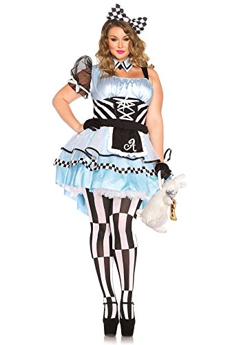 [Leg Avenue Women's Plus-Size Psychedelic Alice Costume, Blue/Black, 3X] (Plus Size Costumes)