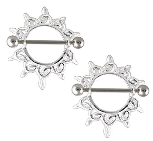 Celtic Nipple Shield - Pair of Tribal Celtic Shining Star Flower Nipple Shield rings - 14g