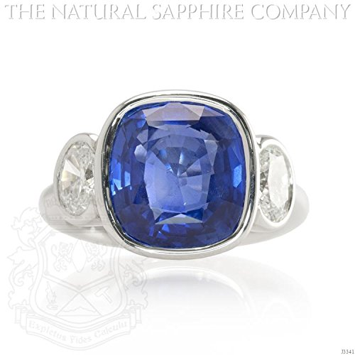 Untreated Sapphire (8.00ct Natural Untreated Blue Sapphire set in a Platinum Bezel Set Ring with 1.24cts of Diamonds (J3341))