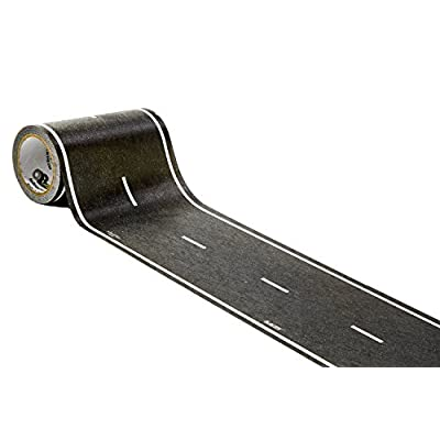 PlayTape Black Road 30x4 - Road Car Tape Great for Kids, Sticker Roll for Cars and Train Sets, Stick to Floors and Walls, Quick Cleanup (30 ft, 4 inch - Single Roll or 15 ft by 4 inch 2 Pack)): Toys & Games