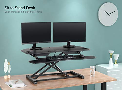 EleTab Height Adjustable Standing Desk Sit to Stand Gas Spring Riser Converter 37'' Tabletop Workstation fits Dual Monitor by EleTab (Image #4)
