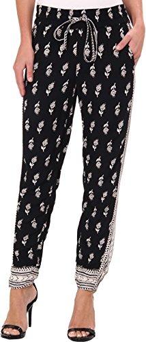 Lucky Brand Women's Paisley Printed Pant Black Multi Pants LG (US 10-12)