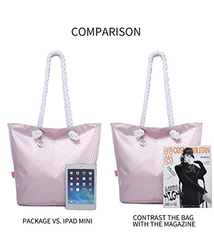 Totes Women Zip Bag Beach Large Simois Waterproof Pink With Tote amp; Travel For Silver Bags xBzFPwT