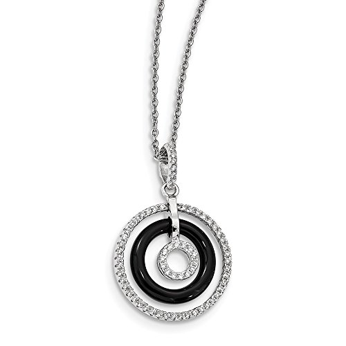 925 Sterling Silver Cubic Zirconia Cz Black Onyx Circles Chain Necklace Pendant Charm Fine Jewelry Gifts For Women For Her