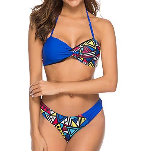 9737142eb9f56 Women's Two Piece Swimsuit Halter Print Bralette Bikini Set Bathing Suits  Swimwear Beachwear Blue
