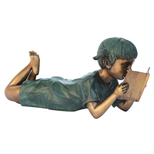 Girl Lying Down Reading Bronze Garden Statue