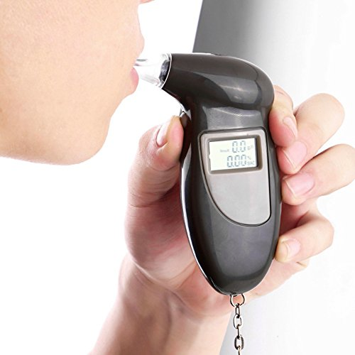 Happy Hours - Professional Digital Red Backlit Alcohol Breath Tester Analyzer Breathalyzer with LCD Display Keychain (Battery is not provided)