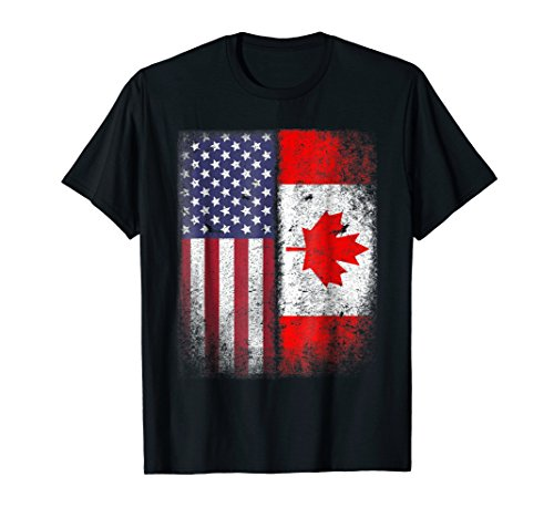 Canadian American Flag T-shirt Canada America Vintage Tee