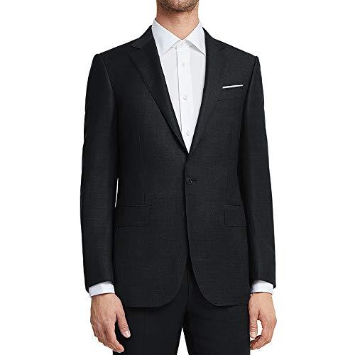 (WULFUL Men's Suit Jacket One Button Slim Fit Sport Coat Casual Blazer Jacket Black)