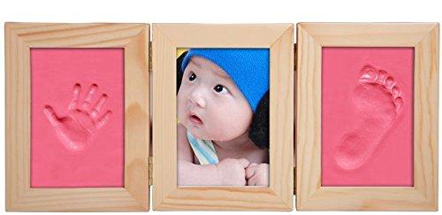 Oyfel 3D Marco Triple de Fotos para Beb/é Set de Fotos y Huellas de Mano y pie en Arcilla Blanco de Madera s/ólida Regalos Reci/én Nacido ni/ños ni/ñas
