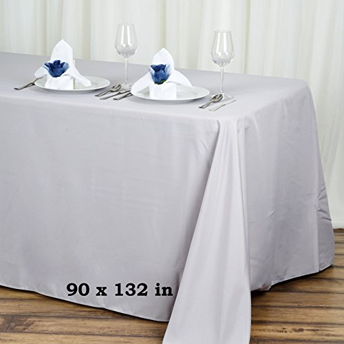 Efavormart 90x132 Silver Wholesale Rectangle Polyester Tablecloth Linen Wedding Party Restaurant - Table Linens Supply Restaurant