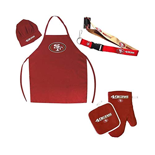 5 Piece NFL 49ers Apron, Chef Hat, Oven Mitt, Lanyard and Pot Holder Set Team Logo Printed Kitchen Chef Apron Sports Themed Cooking Uniform BBQ Gardening Bib Clothing Fans Gift, Polyester, Unisex