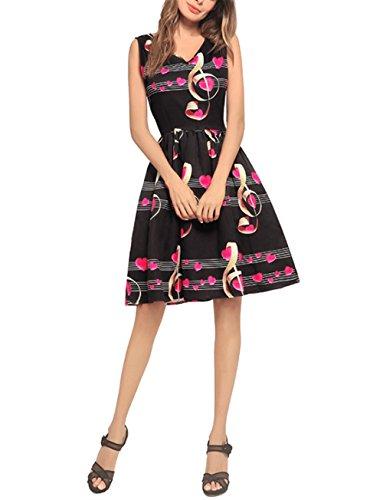 en Weekendy Robe col Gilet Mode Black V Coeur Robe Manches Robe Robe Robe Imprime en Forme de Robe sans AvnqAr7