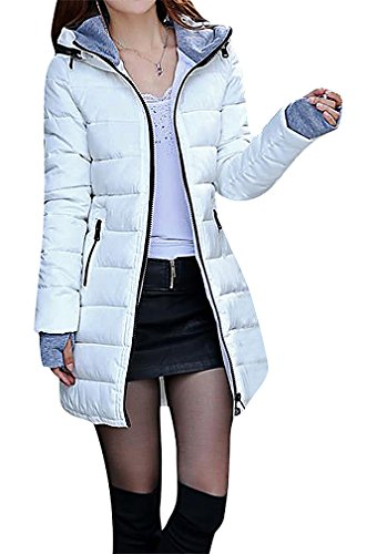 US&R Women 1 Color Zip Up Quilted Long Down Jacket With Fingerless Gloves, White M,Manufacturer(XL)