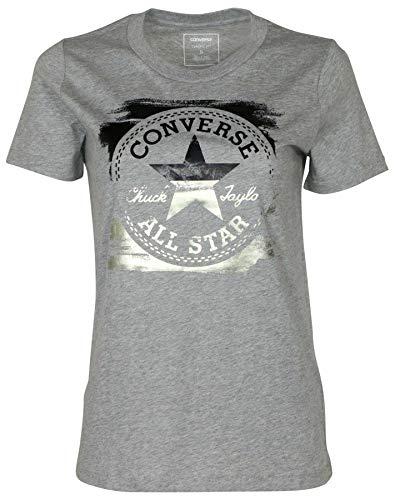Converse Women's Metallic Core Patch Chuck Taylor T-Shirt (XS, Heather Grey) (Clothing Converse)