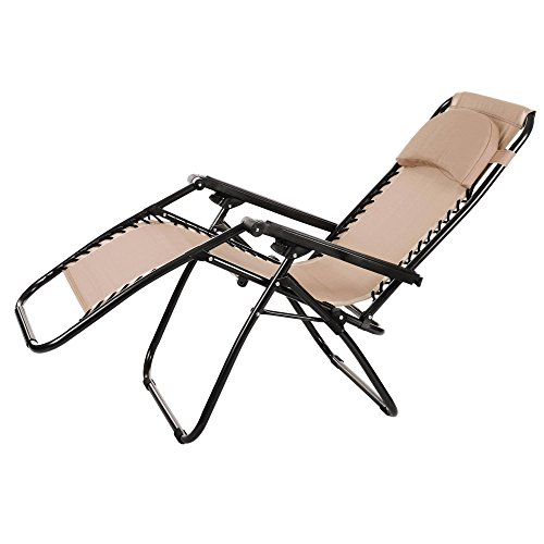 Elever Infinity Leisure Chaise Lounge with Durable Mesh Fabric Khaki by Elever