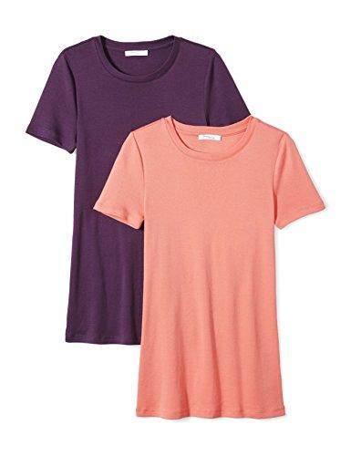 Amazon Brand - Daily Ritual Women's Midweight 100% Supima Cotton Rib Knit Short-Sleeve Crew Neck T-Shirt, 2-Pack, Peach/Deep Purple, X-Large