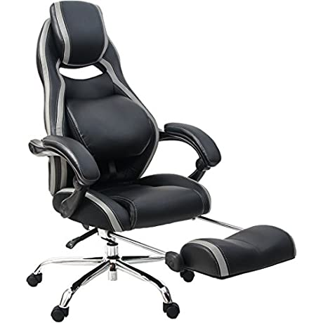 Merax Racing Style Executive PU Leather Swivel Chair Adjustable Pivoting Lumbar And Padded Footrest Balck And Grey