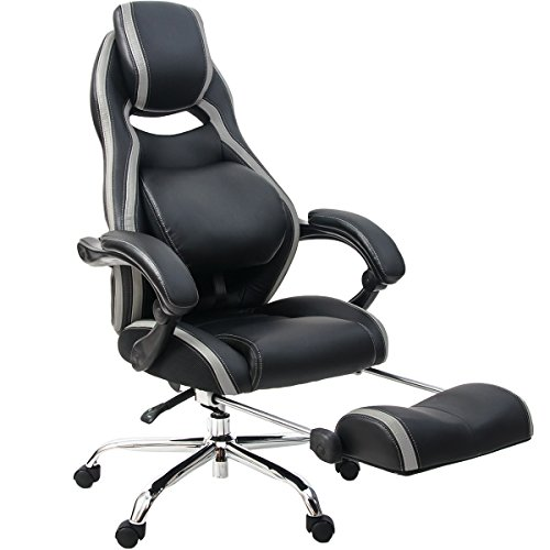 41Dn6kfQegL - Merax-Racing-Style-Executive-PU-Leather-Swivel-Chair-Adjustable-Pivoting-Lumbar-and-Padded-Footrest-Balck-and-Grey