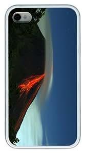 cover retro volcano eruption TPU White Case for iphone 4/4S