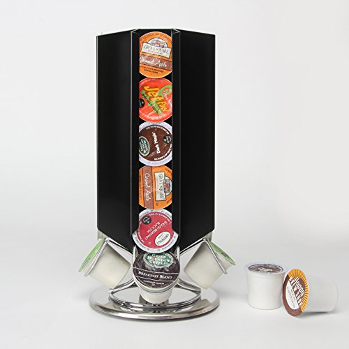 Coffee Pods Holder Revolving Capsules Rack for K-cup (Black, 24 Pods) -
