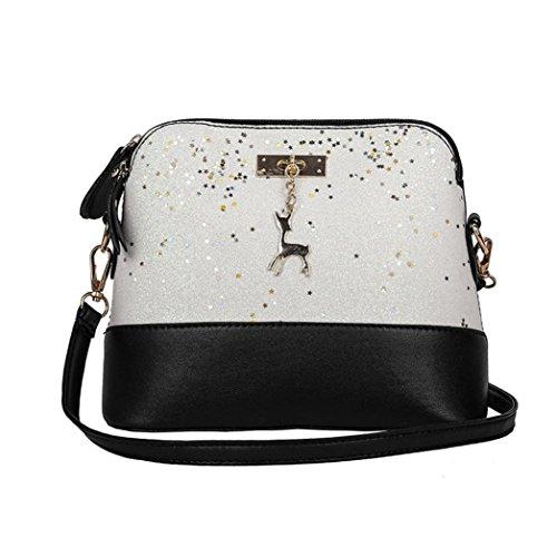 Leather Handbags Bag for Crossbody Women Sequins Bag Bags Small Bag Bags Shoulder Women's Sliver Tote Splice Bag Shoulder Travel Messenger Deer dwOxqd