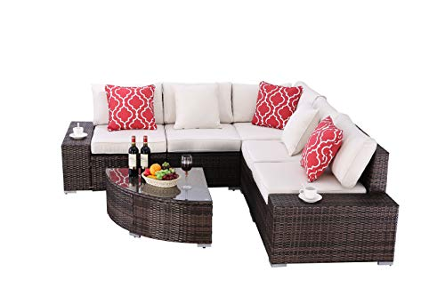 "Do4U 6 Pieces Outdoor Patio PE Rattan Furniture Sectional Conversation Set, All-Weather Wicker Rattan Sofa Beige Seat & Back Cushions (Brown) - √『PREMIUM QUALITY』: Built from a rust-resistant steel frame with durable, weather-resistant PE rattan wicker for years of use. √『HUMANIZED DESIGN』: Zippered cushions filled with 4"" thick cotton for optimal comfort and relaxation, patio outdoor sectional gives you a excellent seating experience. Perfect for indoor, outdoor garden,patio, porch, poolside and yard. √『COMFORTABLE CUSHIONS』: All cushions come with zippered 250g polyester covers which are removable for easy cleaning; Removable tempered glass on the table adds more convenience to clean after use and a sophisticated touch as well. - patio-furniture, patio, conversation-sets - 41Dn7OEqviL -"